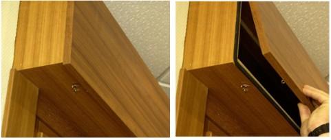 Caja de madera con ganchos